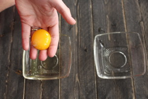 The Coolest Way to Separate Eggs- The Old Way. By hand, literally.