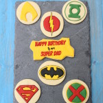 "Happy Birthday to a ""Super Dad"" with ""Super Dad"" Cookies"