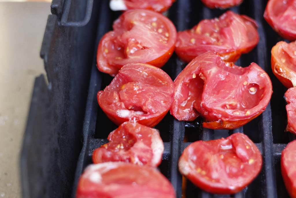 preparing tomatoes on the grill