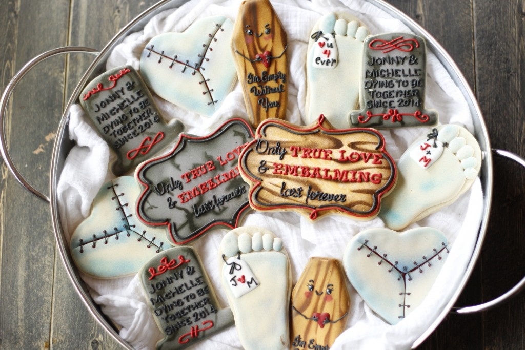 mortician bridal shower cookies